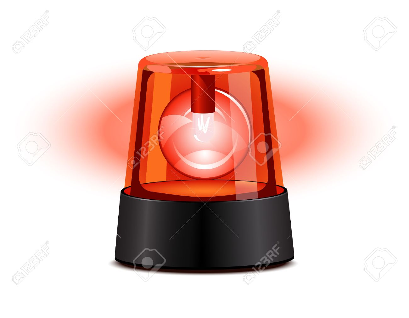 Warning Light Clipart Red Flashing Light Over A White Background