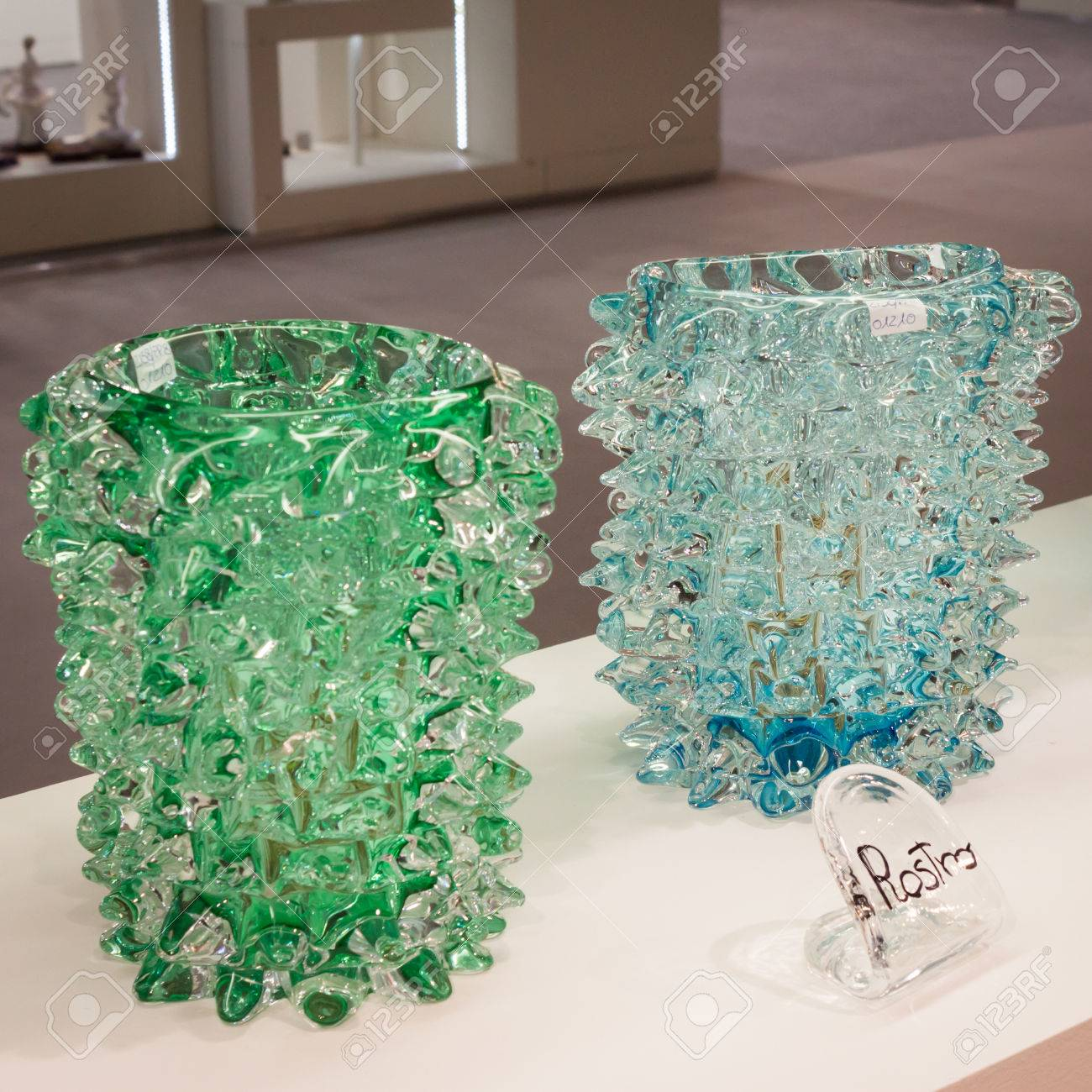 Vase De Murano Milan Italy January 20 Murano Glass Vases On Display At Homi
