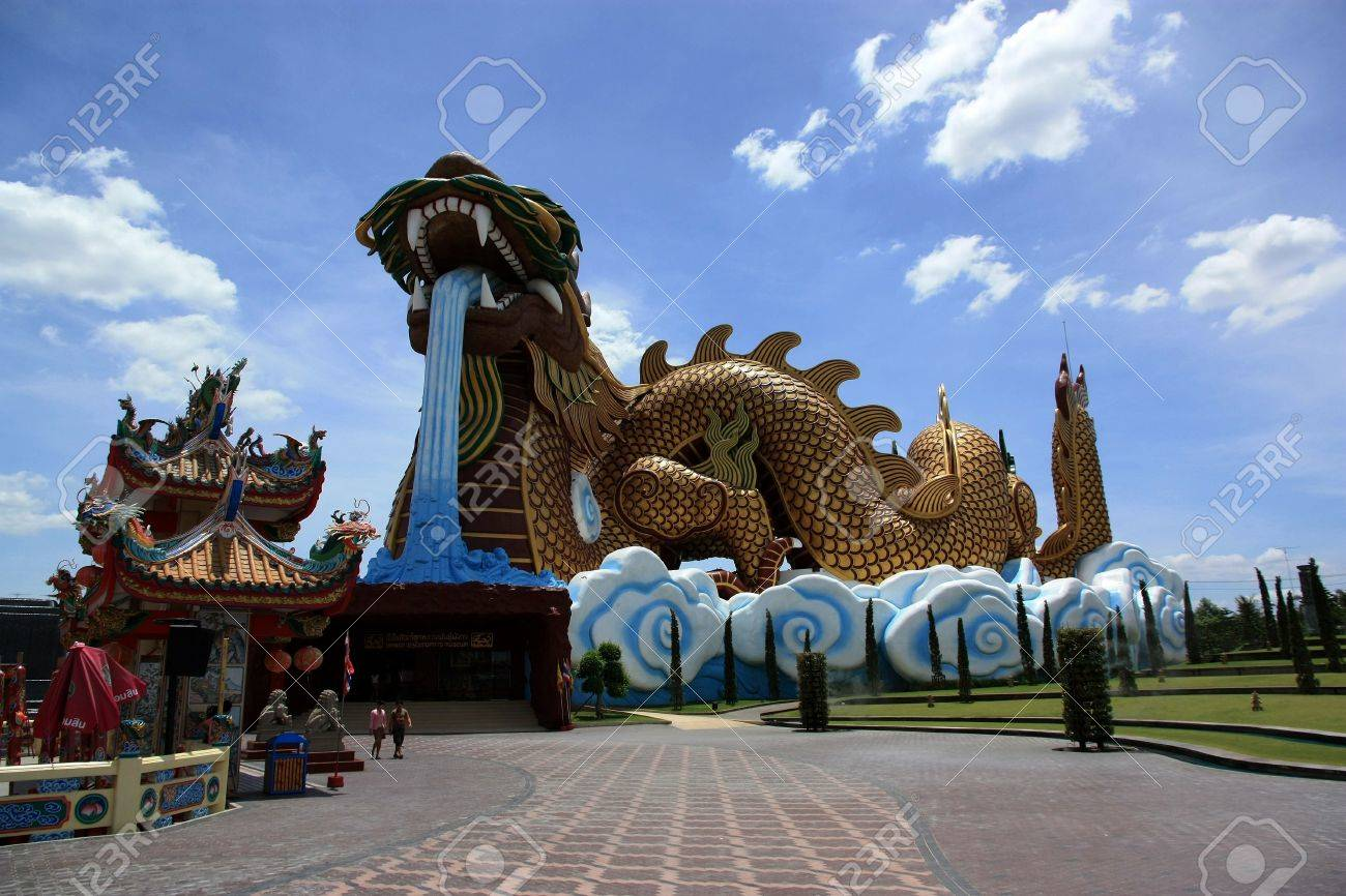 Giant Dragon Statue Giant Dragon In Dragon Temple At Suphanburi Thailand