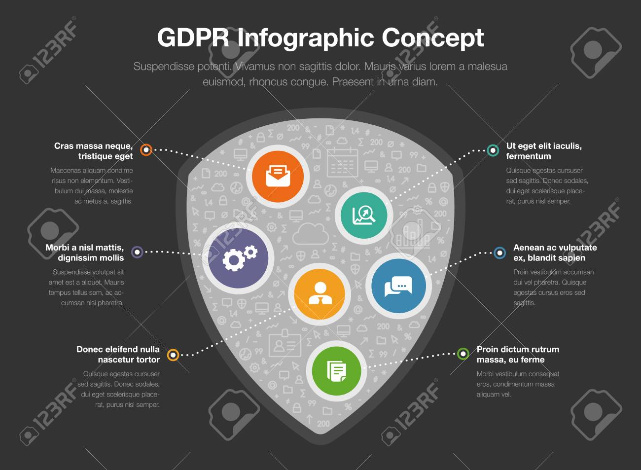 Ra T Vel European Gdpr Infographic Concept With A Shield Symbol Filled