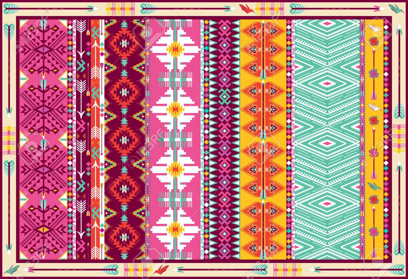 Aztec Tapijt Seamless Colorful Aztec Carpet With Birds And Arrow