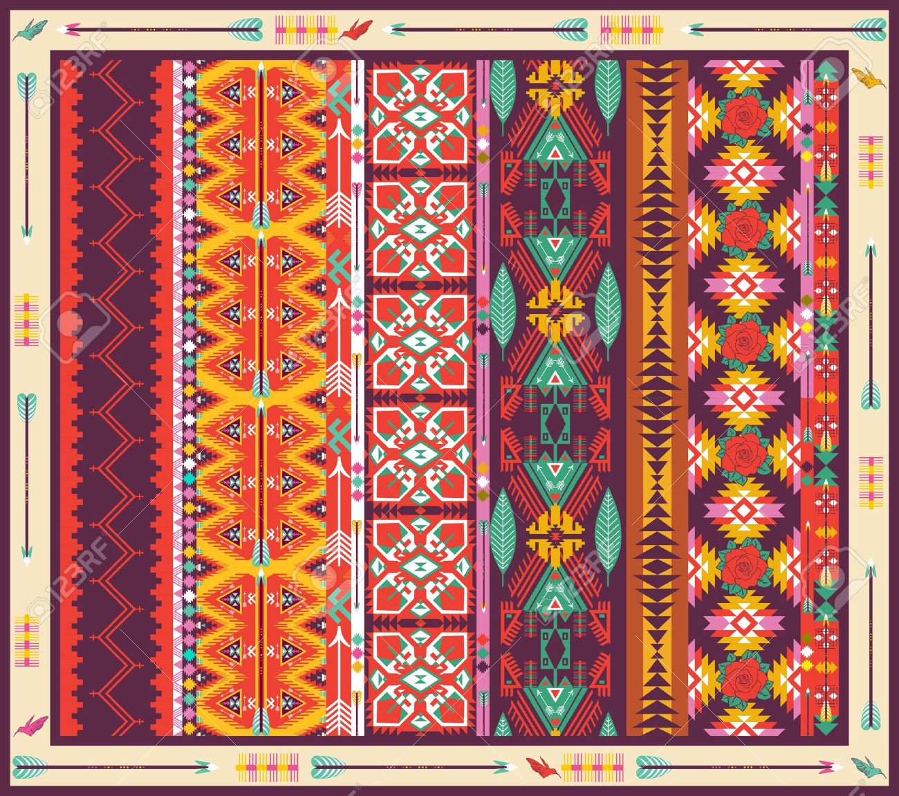 Aztec Tapijt Seamless Colorful Aztec Carpet With Birds Flowers And Arrow