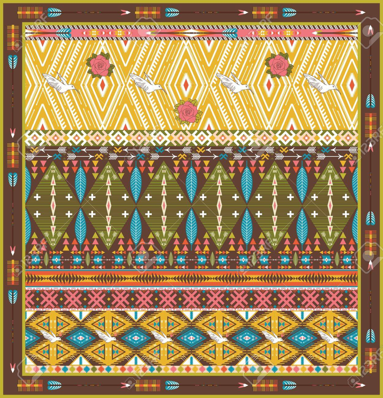 Aztec Tapijt Seamless Colorful Aztec Rug With Birds And Arrow