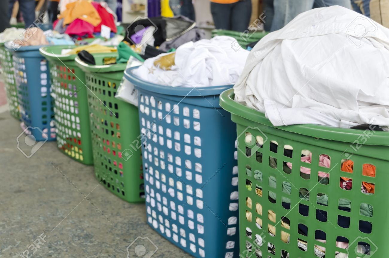 Dirty Laundry Baskets A Line Of Laundry Baskets Full Of Dirty Clothes For Washing