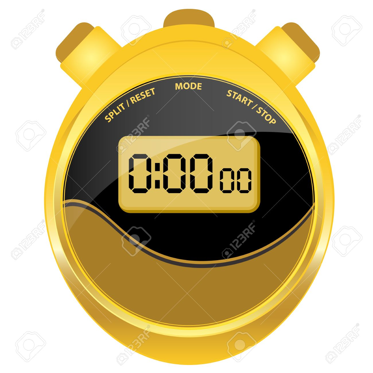 Oval Clock Face Digital Stopwatch In Modern Oval Style Set In A Gold Case With