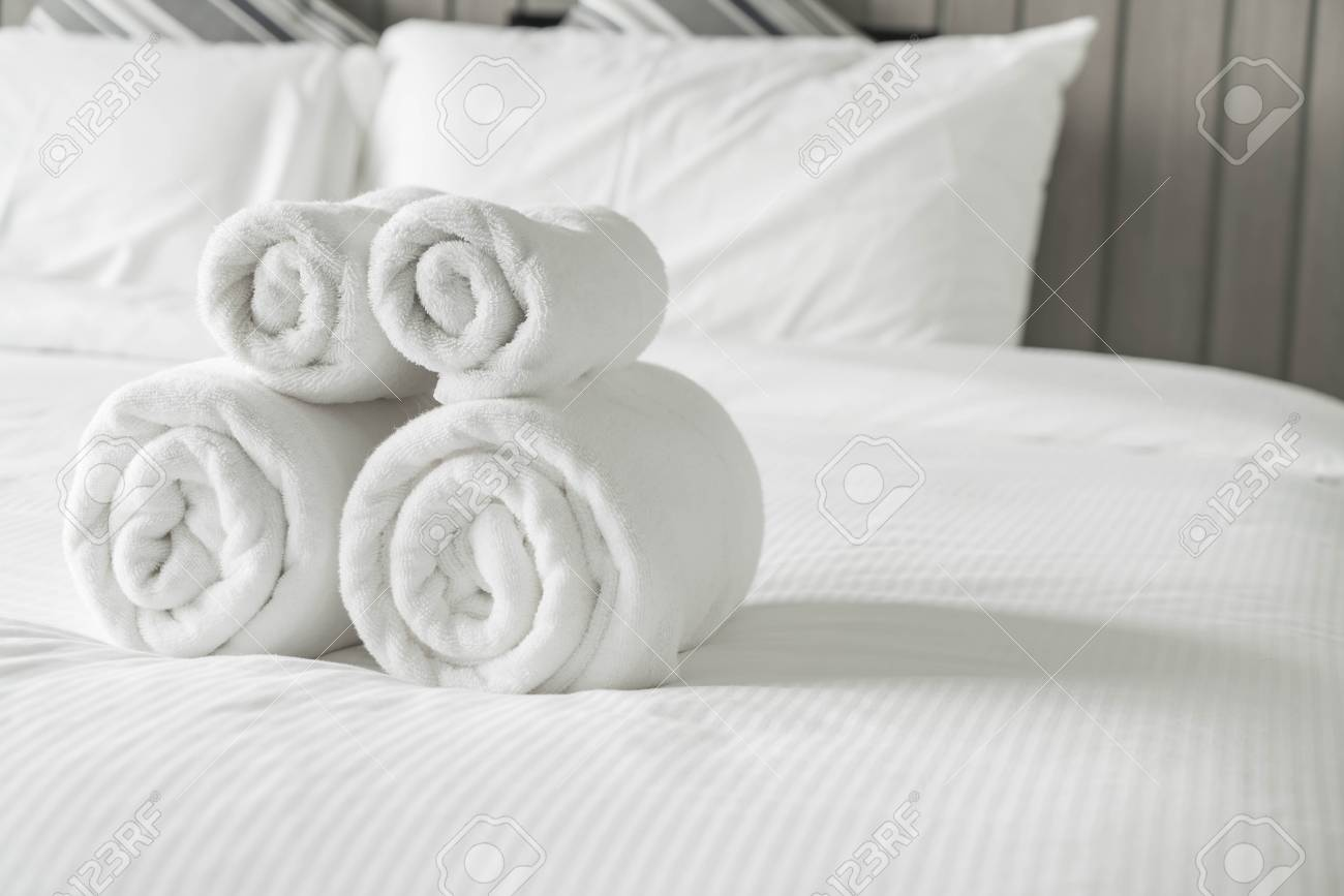 White Decoration Bedroom White Towel On Bed Decoration In Bedroom Interior Vintage Light