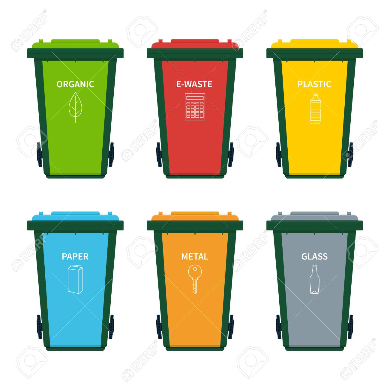 Garbage Bin Garbage Bin Set For Sorting Different Types Of Recycling Waste