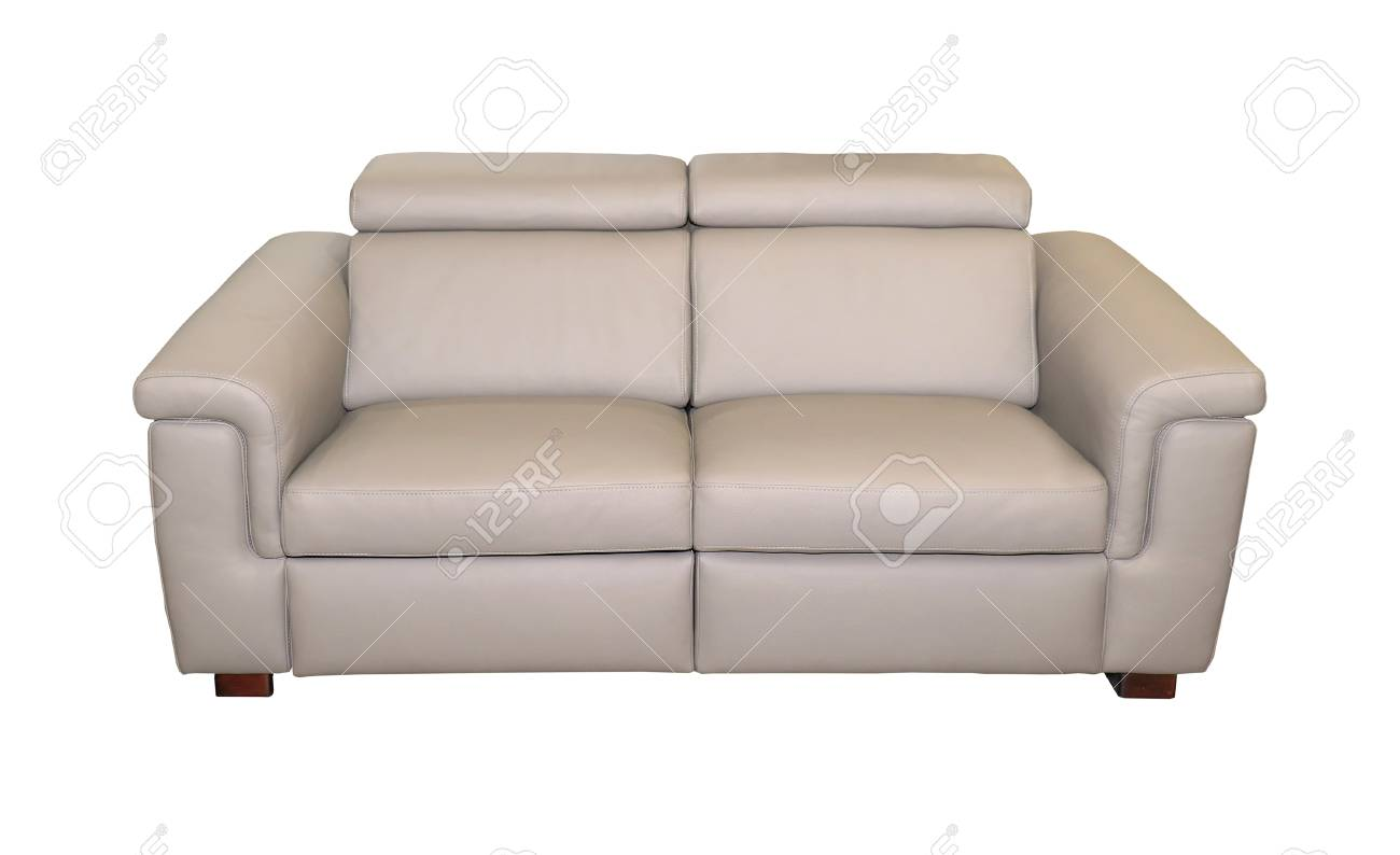 Modern Beige Leather Couch Isolated With Clipping Path Included Stock Photo Picture And Royalty Free Image Image 80155875