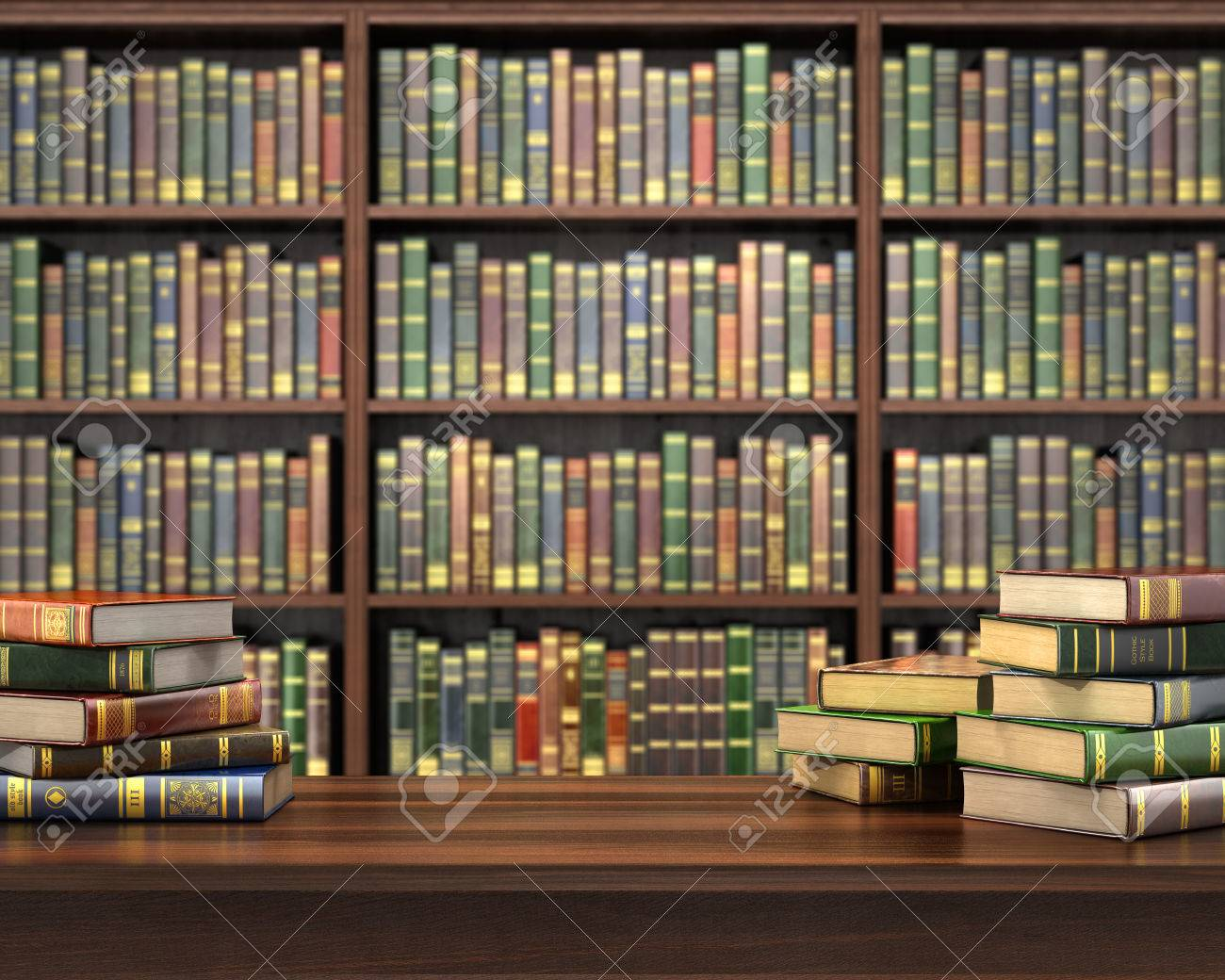 Bücherregal Mit Büchern Stock Photo