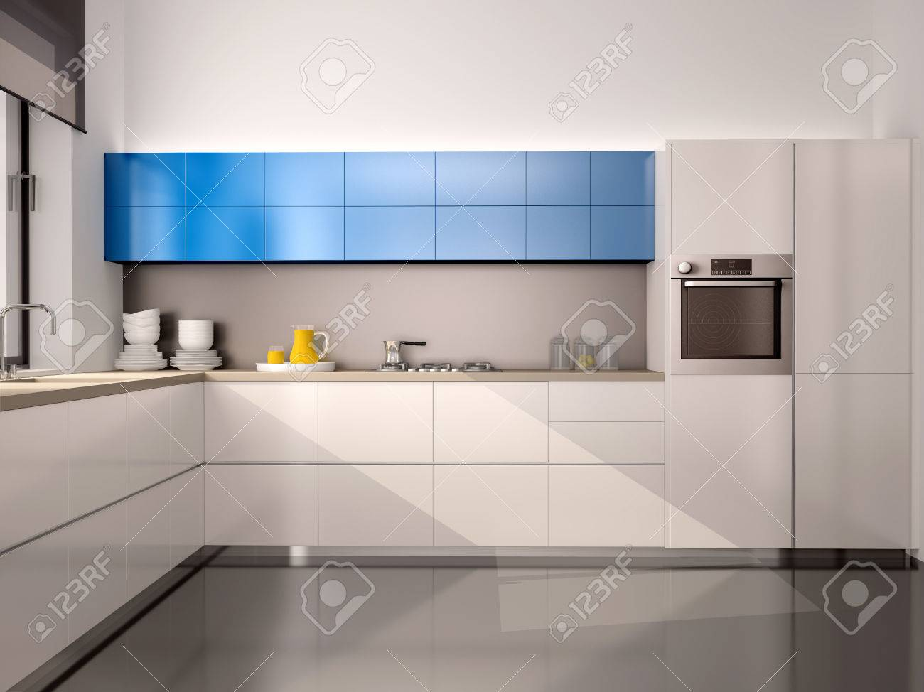 Küche Weiß Blau Stock Photo