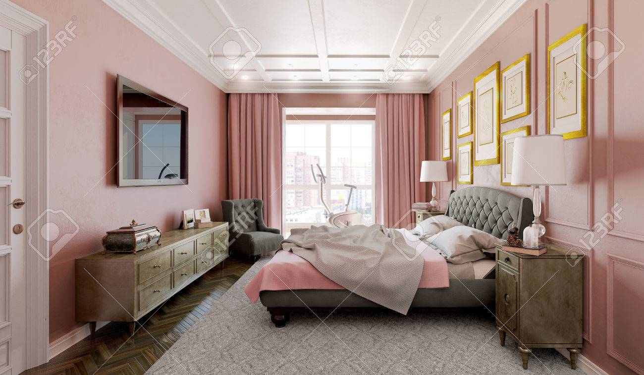 Master Bedroom With Modern Design With Pink And Brown 3d Illustration Stock Photo Picture And Royalty Free Image Image 64618488