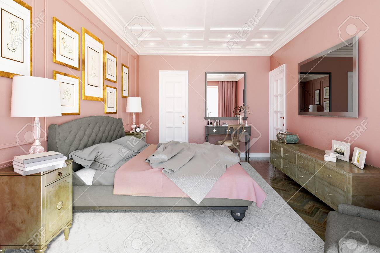 Master Bedroom With Modern Design With Pink And Brown 3d Illustration Stock Photo Picture And Royalty Free Image Image 64889738