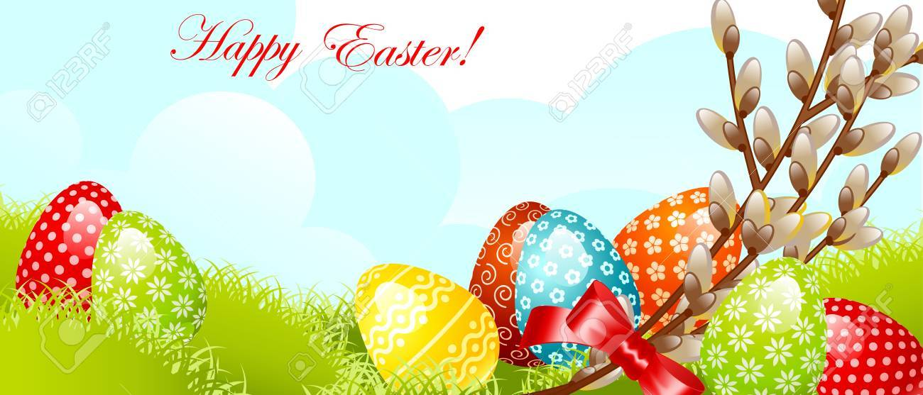 Happy Easter Invitationeaster Egg With Flower Pattern On Grass