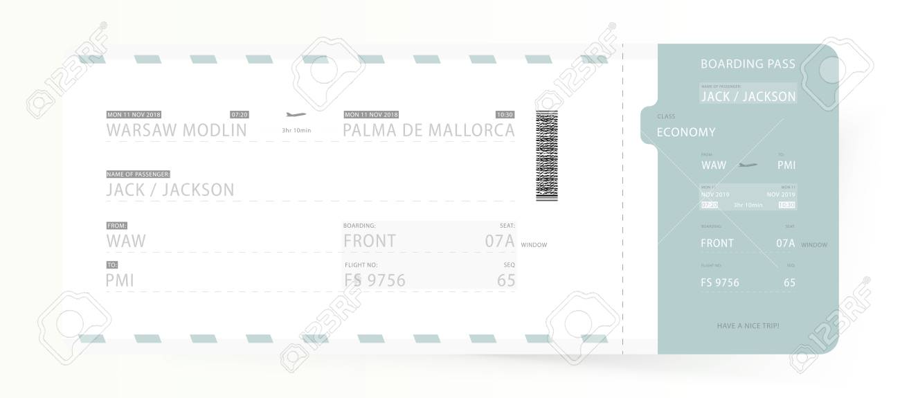 Airline Boarding Pass Template Ticket For Traveling On Plane
