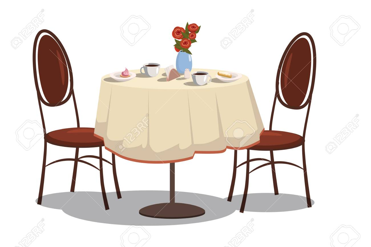 Reastaurant Tables Modern Restaurant Table With Tablecloth Coffe Mugs Flowers