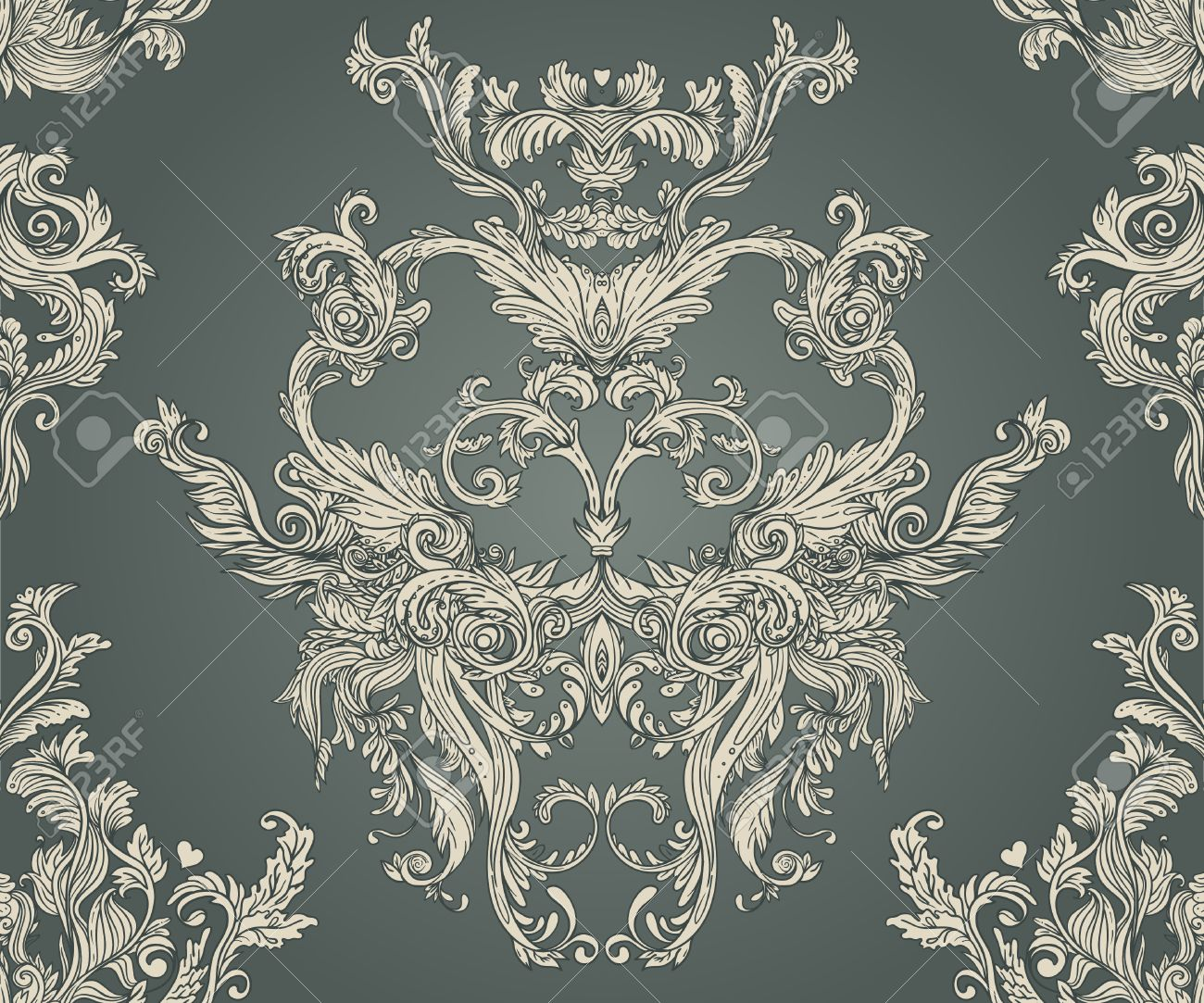Vintage background ornate baroque pattern vector illustration stock vector 33592509