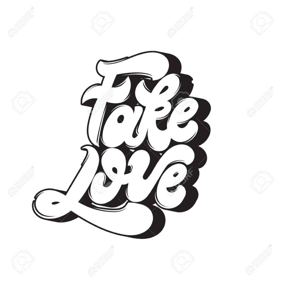 Fake love. Vector quote typographical background with handwritten lettering. Template for card, poster