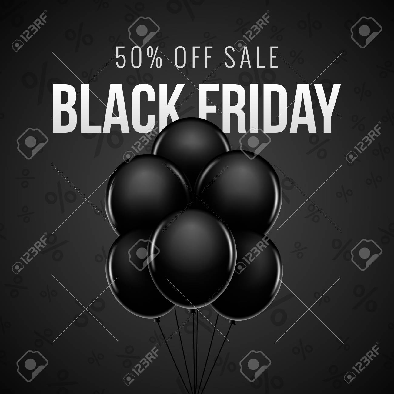 Black Friday Rabatt Black Friday Verkaufsbündelballon Dekorations Hintergrunddesign Vektor Ballon Rabatt Banner