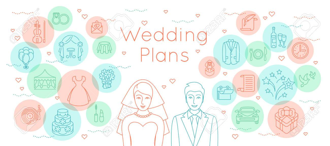 Wedding Plans Thin Line Flat Vector Background Modern Horizontal - wedding plans
