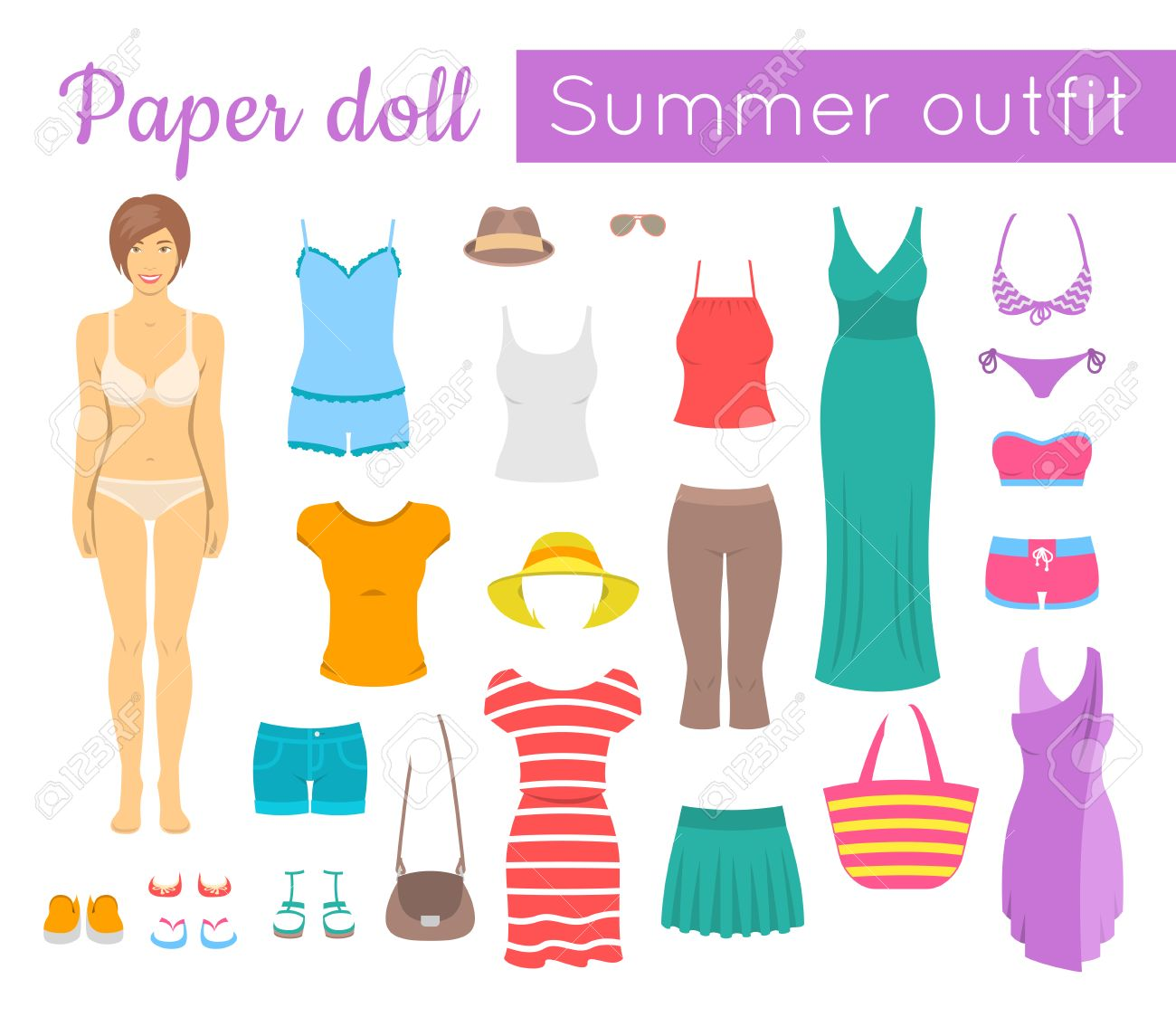 Dress up casual girl games - Dress Up Casual Girl Games Paper Doll Game For Girl Flat Style Illustration Cut Out Download