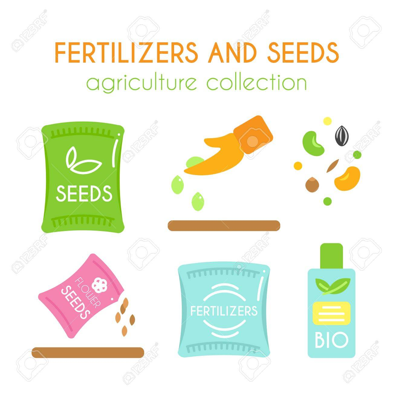 Grain Bio Vector Fertilizer Illustrations Seeds Pack Design Bottle Of