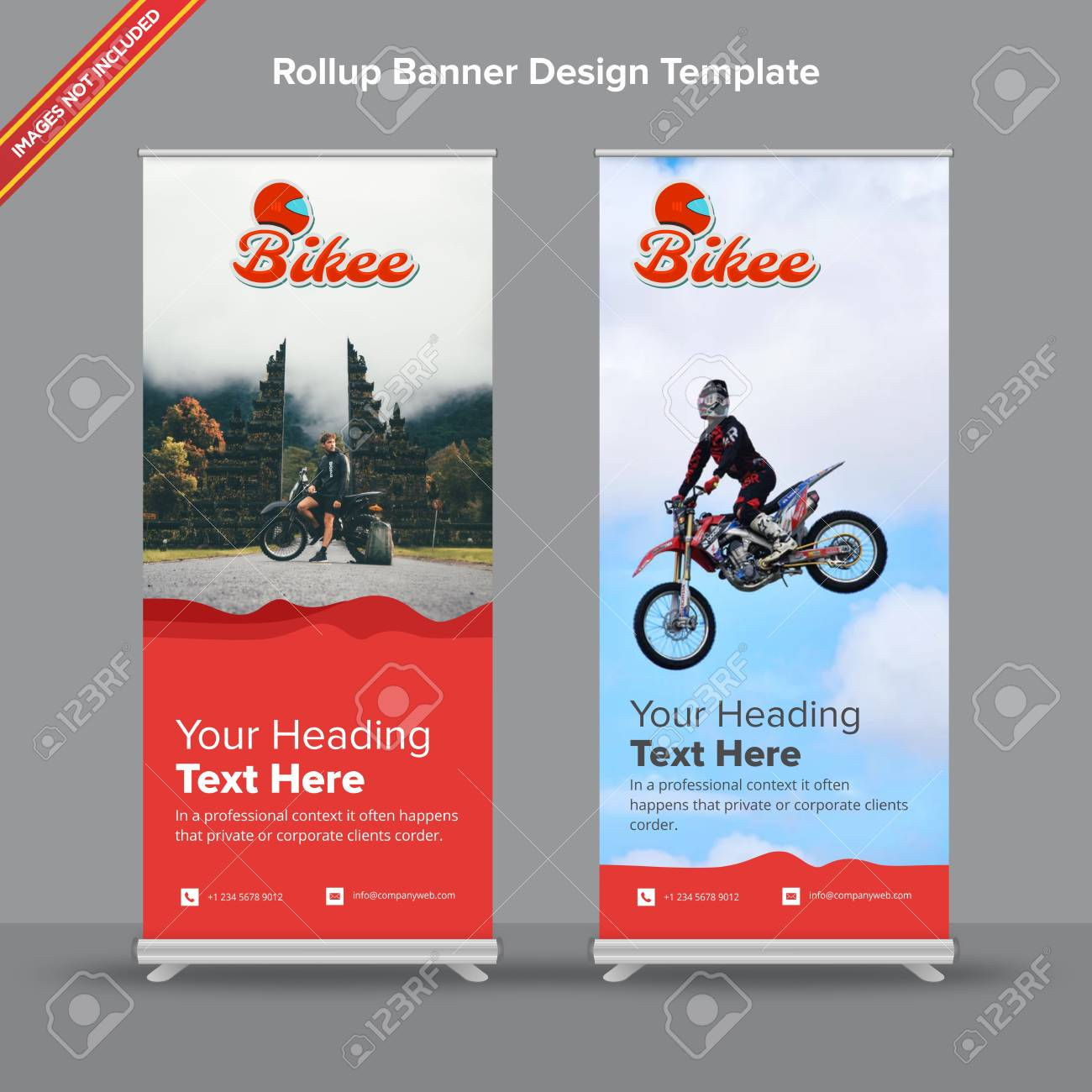 Rollup Rollup Banner With Artistictic Red Waves Will Take Care Of All