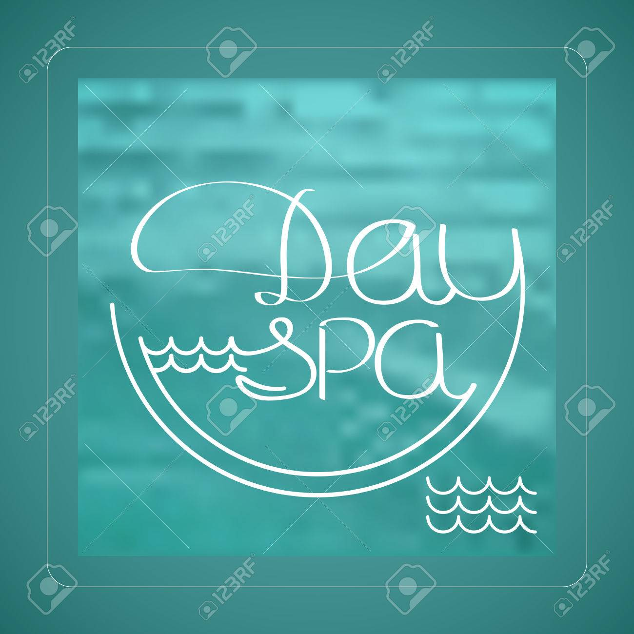 Aquarine Spa Vector Illustration With White Handwritten Word Day Spa On Aquamarine