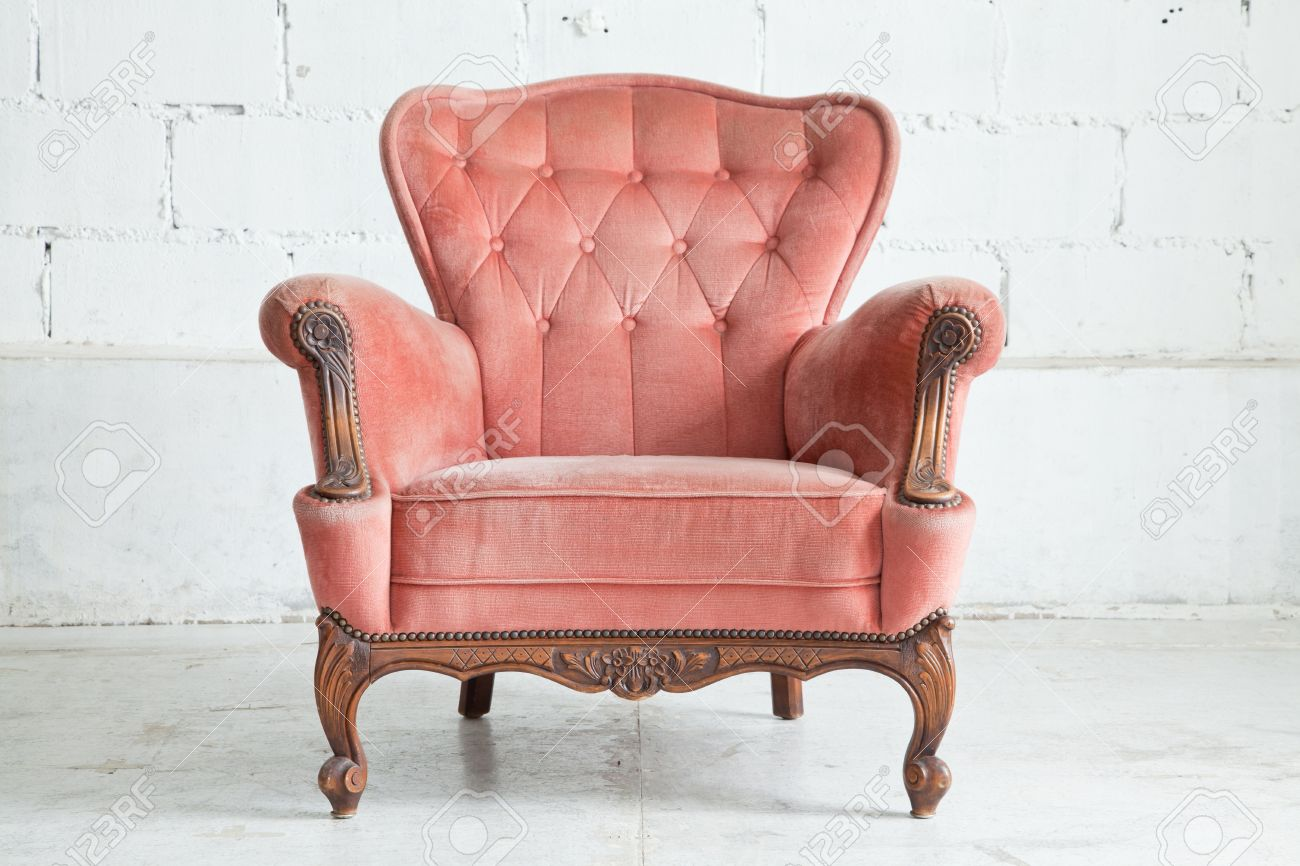 Vintage Couch Pink Classical Style Armchair Sofa Couch In Vintage Room