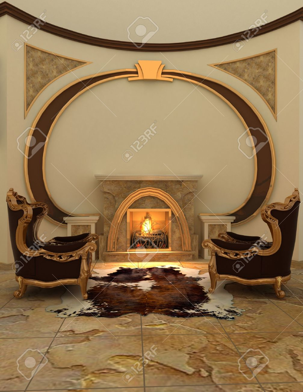Kamin Und Sessel Stock Photo