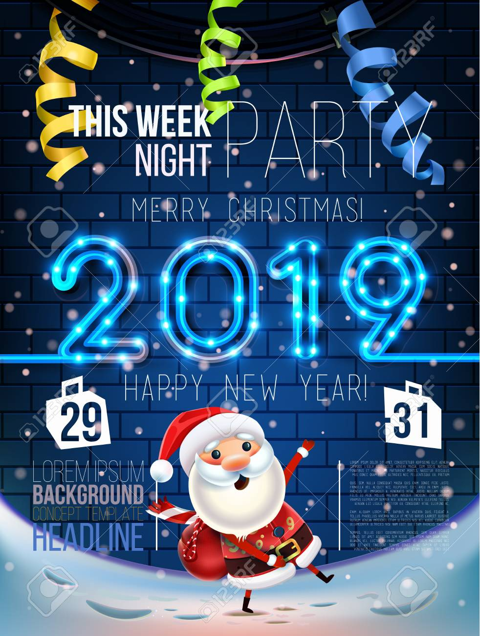 Leo 2019 Mes A Mes 2019 Merry Christmas And New Year Symbol Santa Claus On A Winter