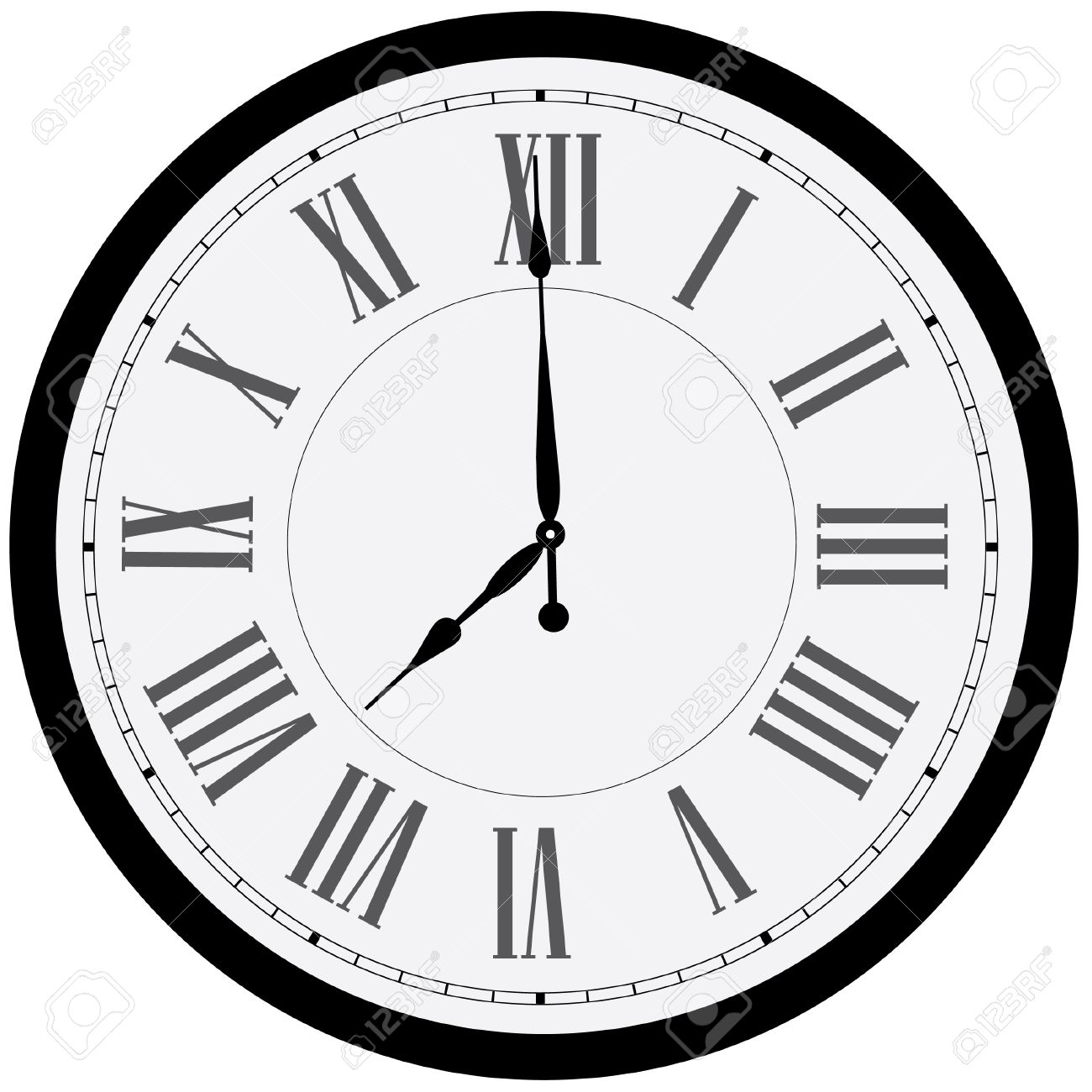 Black Wall Clock Black Wall Clock Vector Isolated Clock On Wall Shows Eight Oclock