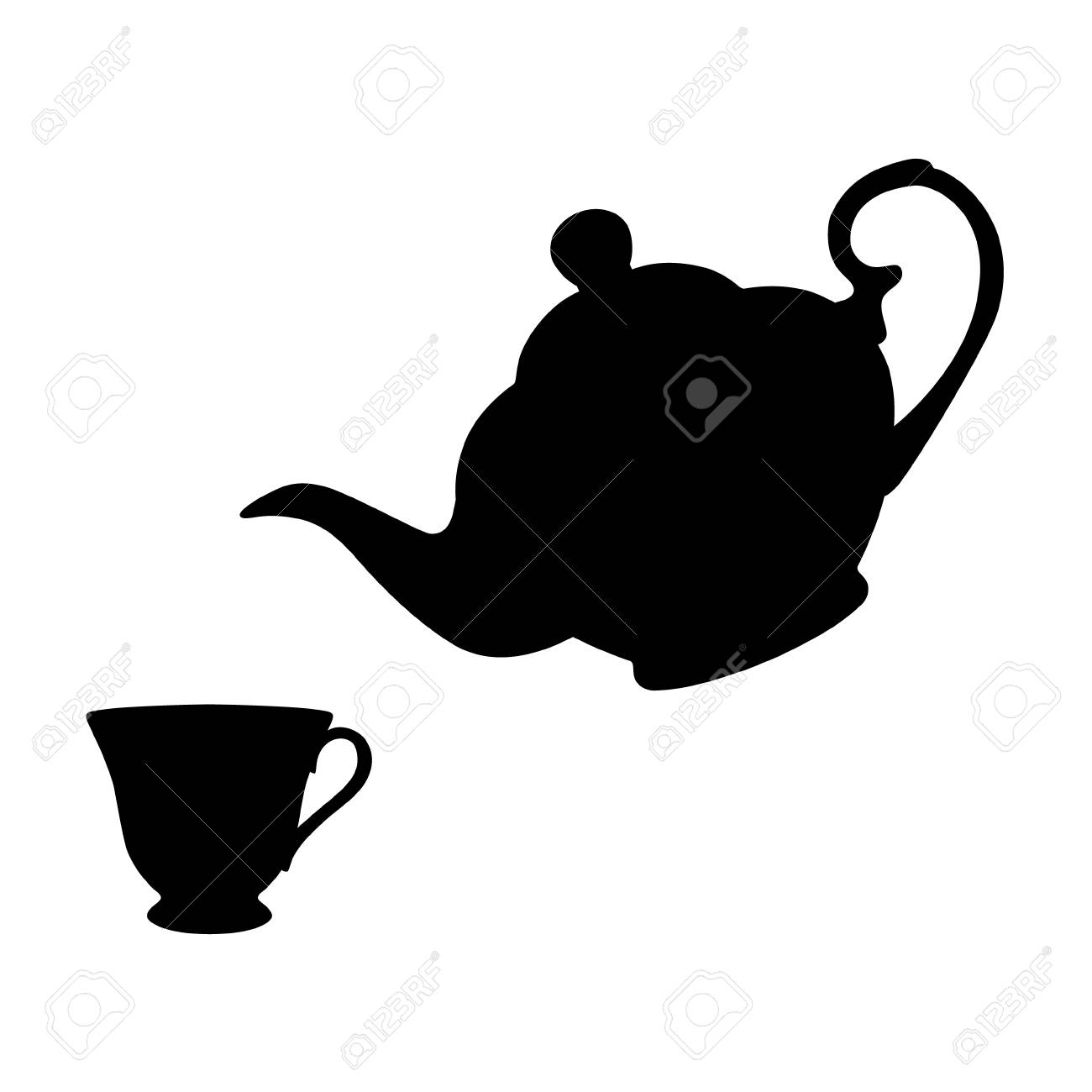 Teapot With Cup Vector Illustration Of Black Silhouette Teapot And Cup Of Tea