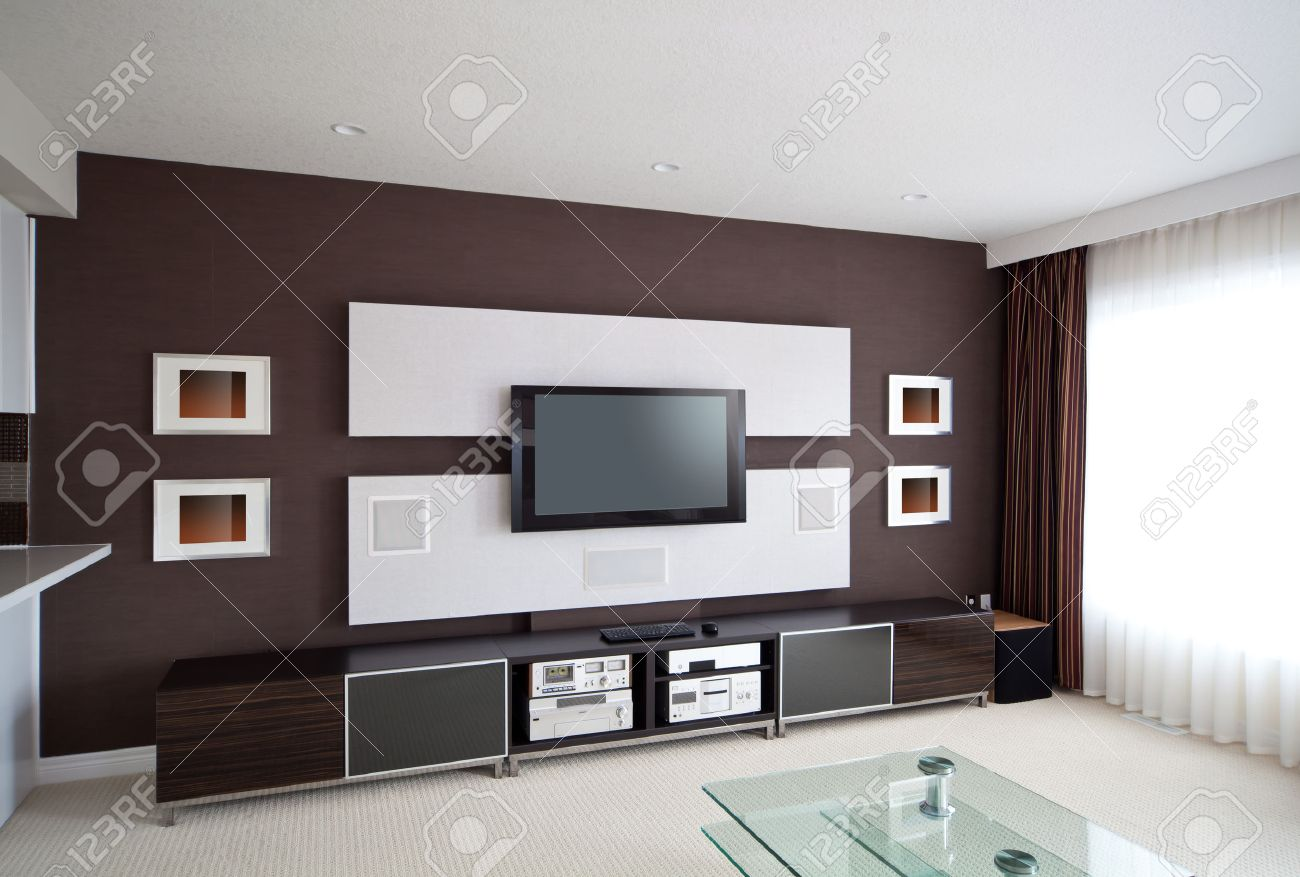 Home Theater Room Modern Home Theater Room Interior With Flat Screen Tv