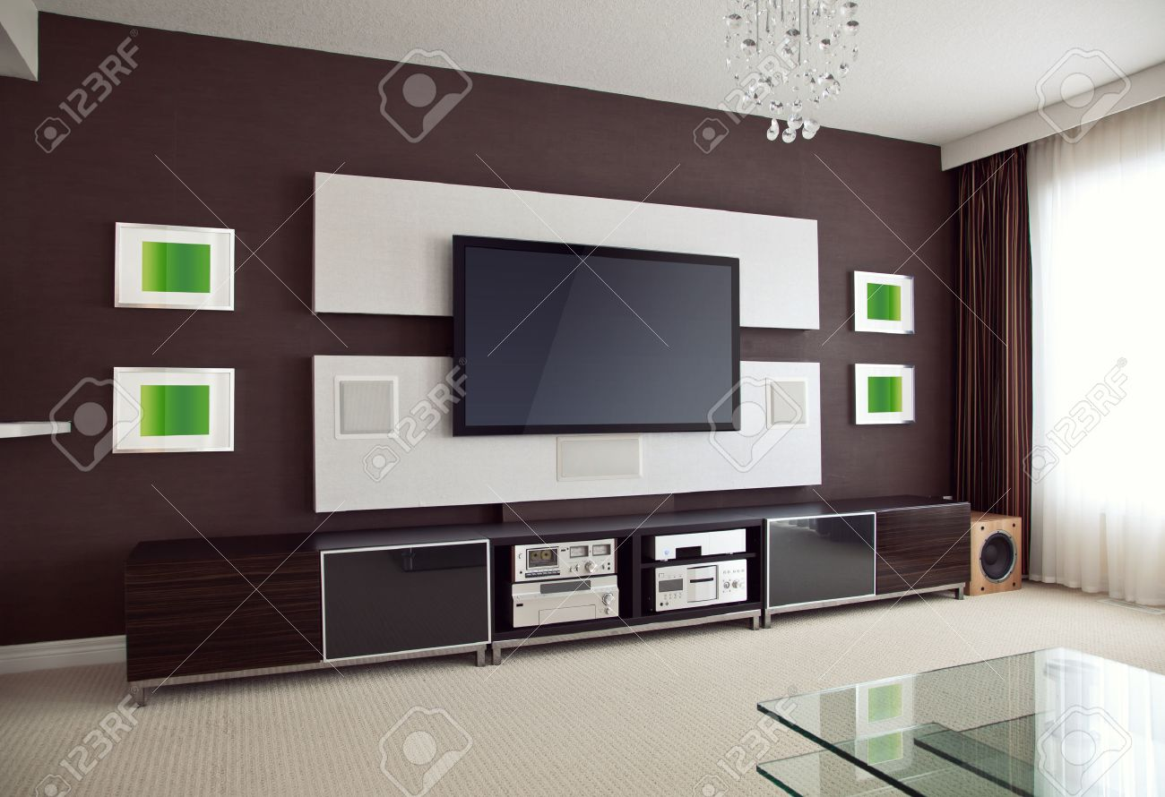 Home Theater Room Modern Home Theater Room Interior With Flat Screen Tv Angled