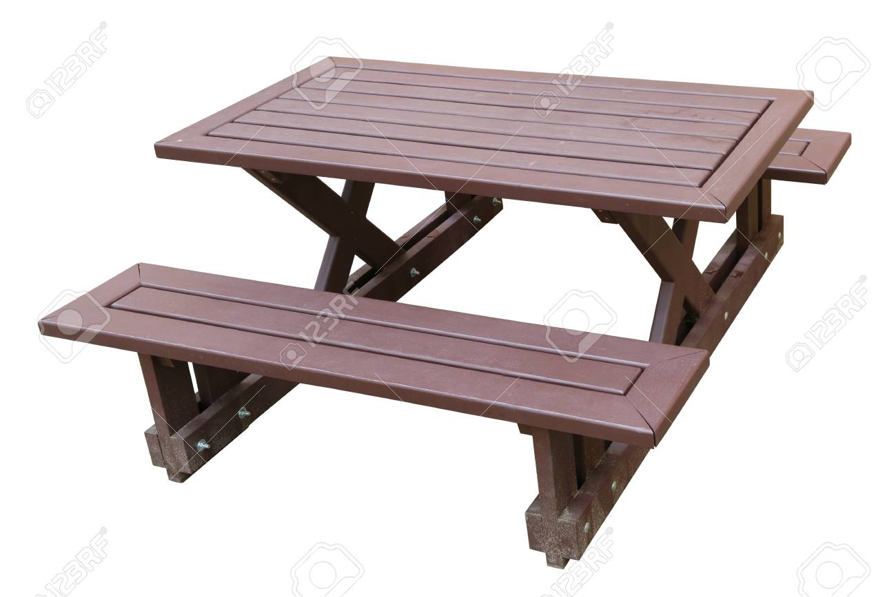 Wooden Bench Table Standard Wooden Benches And A Small Restaurant Table On A Sandy