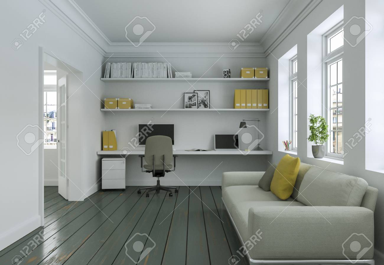 Sofa In Home Office Modern White Yellow Home Office With Sofa Interior Design 3d