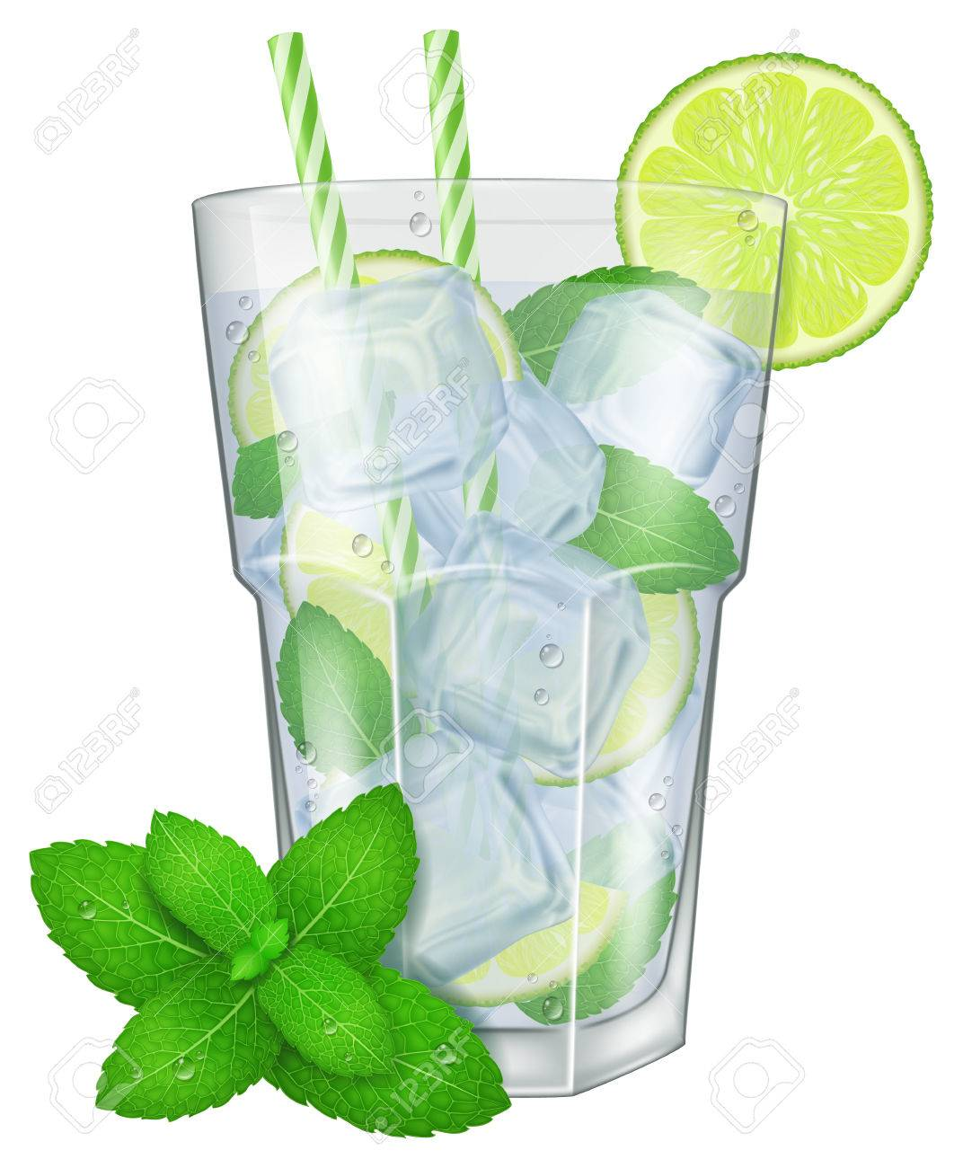 Mojito Glas A Glass Of Mojito With Mint Leaves Vector Illustration