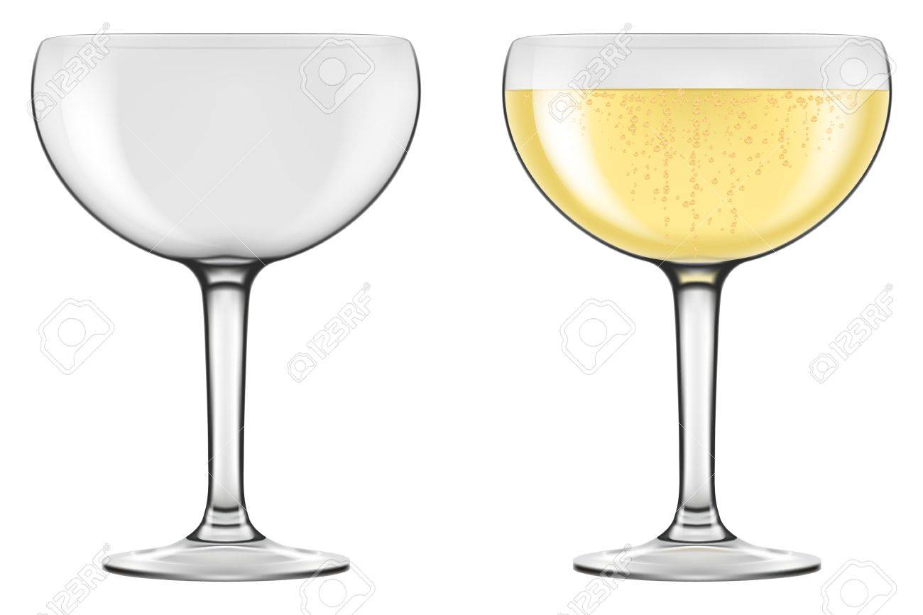 Champagne Coupe Champagne Coupe Type Glasses Photo Realistic Vector Illustration
