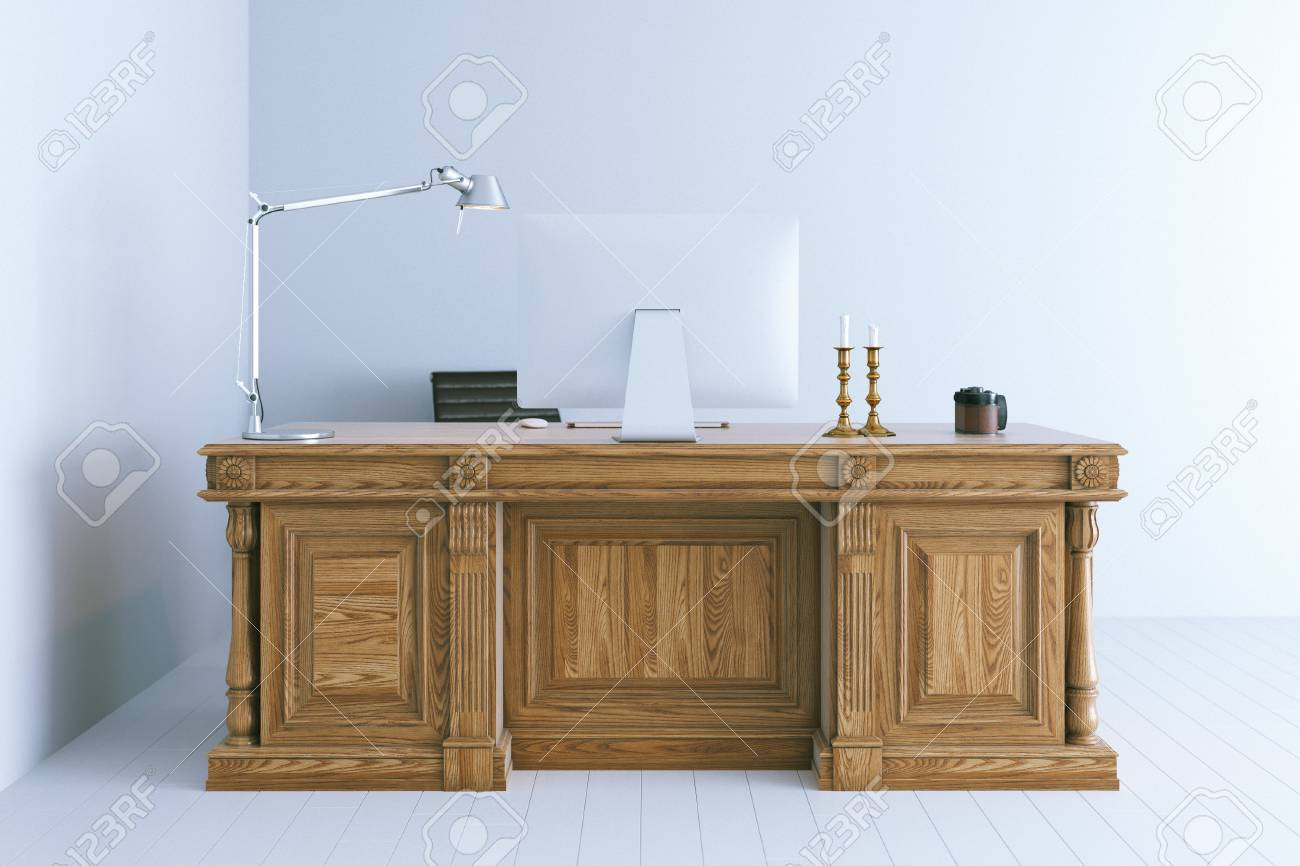 Classic Table Office Modern Office Interior With Classic Wooden Table 3d Render