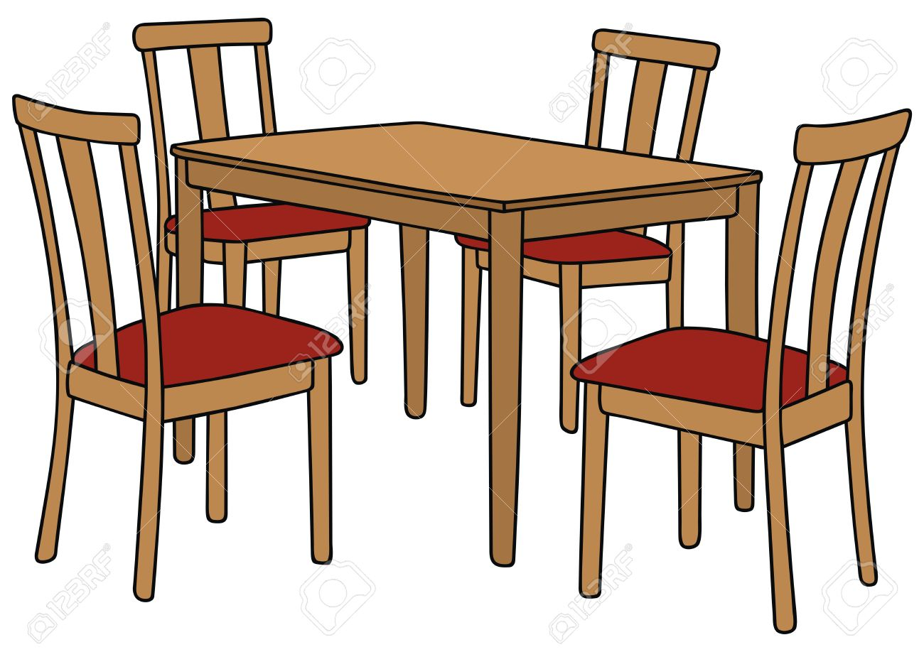 Hand drawing of a table and four chairs stock vector 25963482