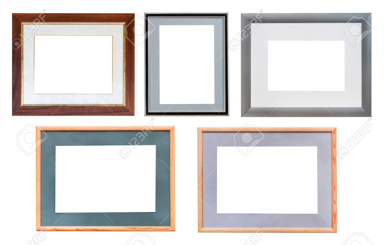 Foto Passepartout Set Of Picture Frames With Passepartout With Cut Out Canvas Isolated