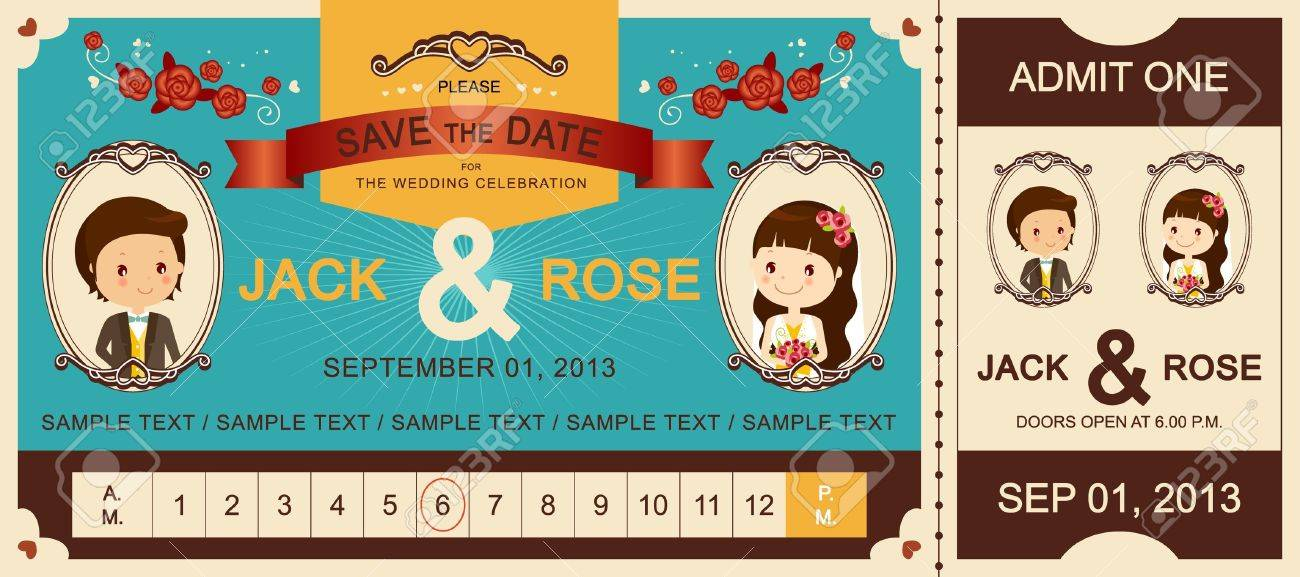 Just Married Vintage Wedding Ticket Invitation Royalty Free Cliparts