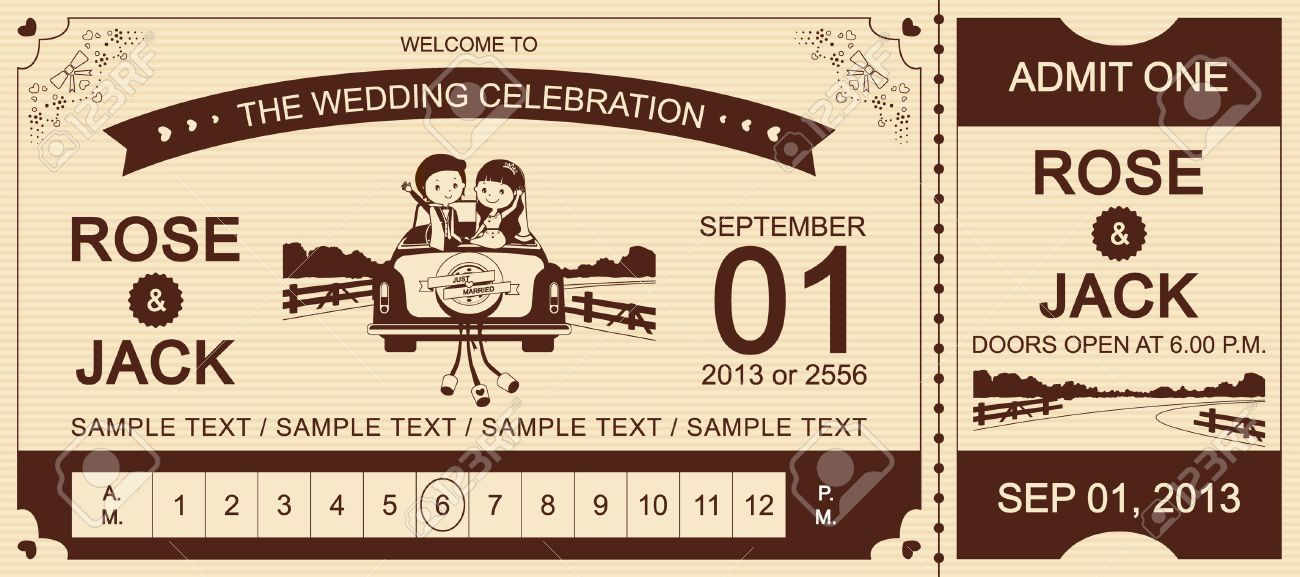 Just Married Brown Wedding Car Ticket Invitation Card Vector