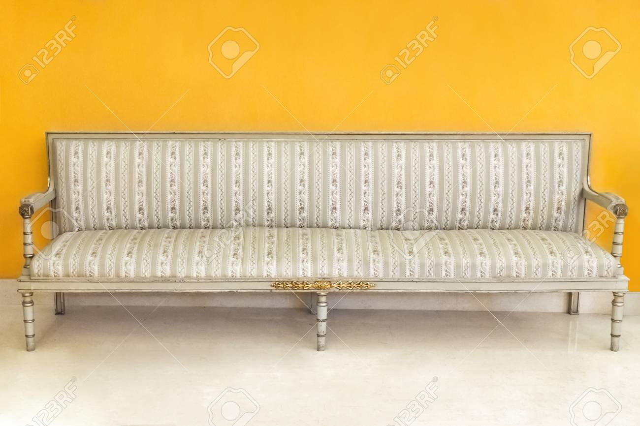 Retro Sofa Wood Beautiful Classic Retro Sofa With Striped Upholstery Near The