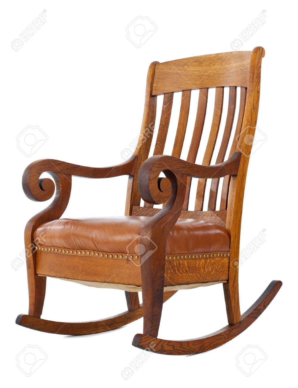 Wood Rocking Chair Antique Wooden Rocking Chair Isolated On White Background