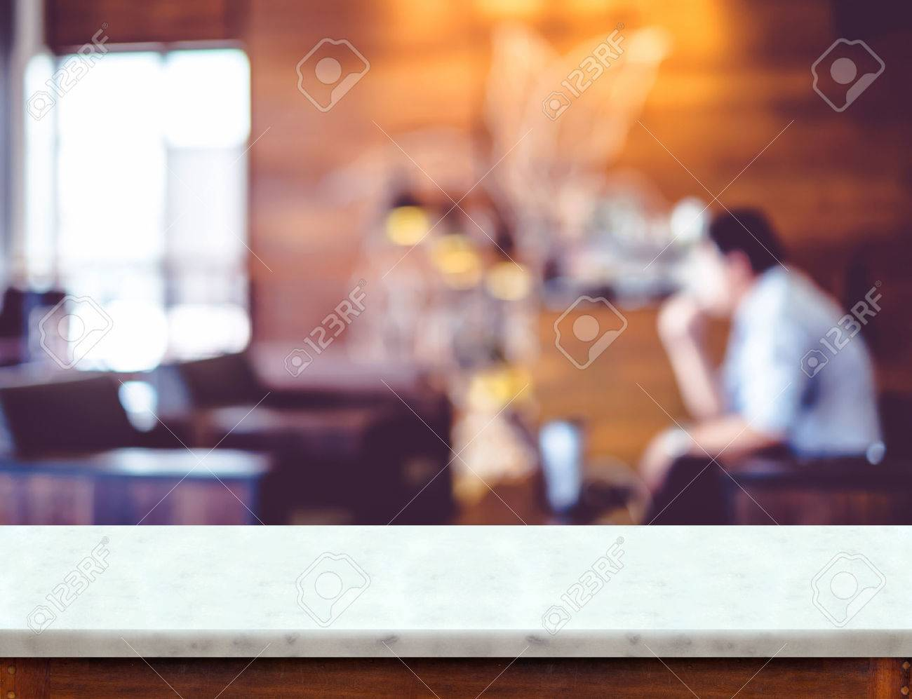 Marmortisch Cafe Stock Photo