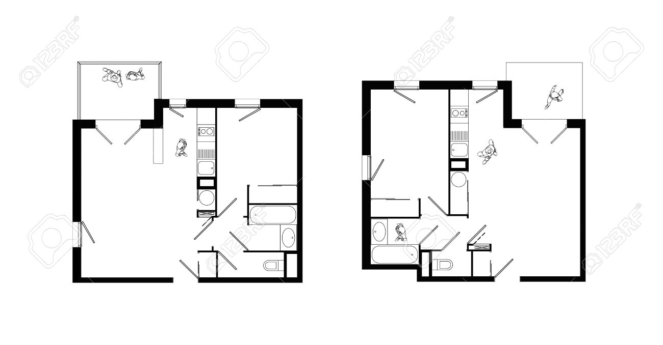 Wc Plan Top View Of Interiors Of Two Small Two Rooms Apartments With