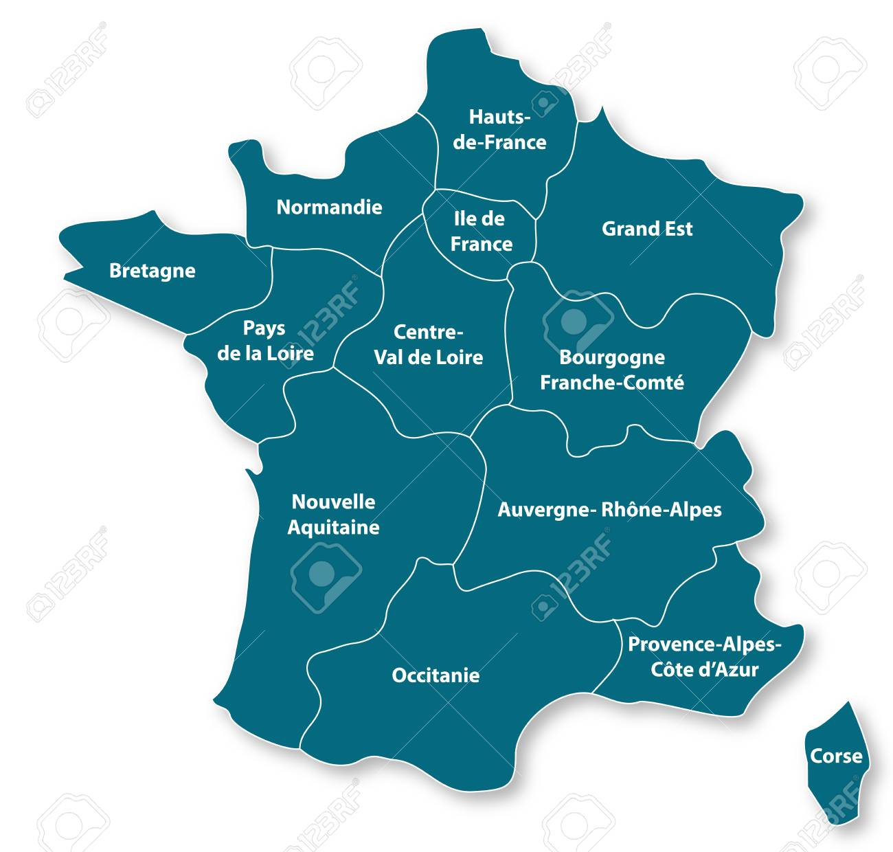 Regions De France Map Of The Regions Of France