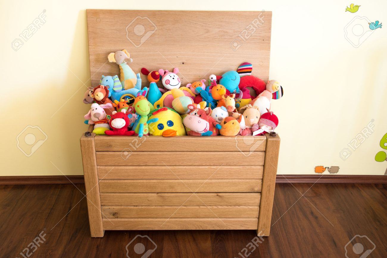 Toy Box Toys Toy Box Full Of Soft Toys In A Child S Bedroom