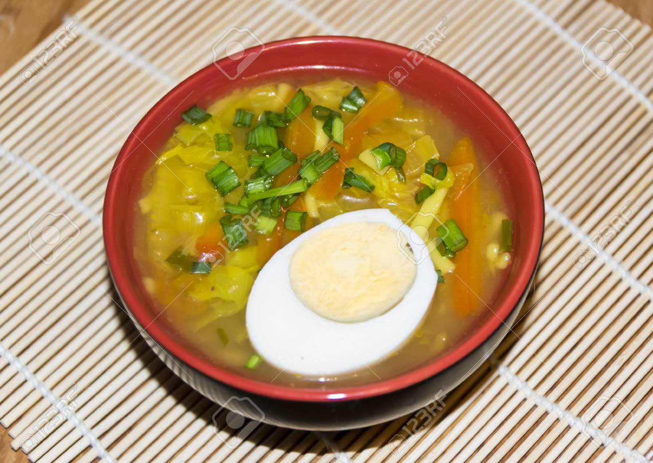 Cuisines Vial Vial Of Japanese Miso Soup With Boiled Egg And Green Onion On